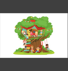 children playing and having fun in the treehouse vector image