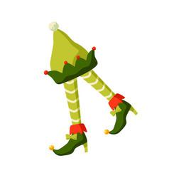 christmas elf costume parts flat vector image