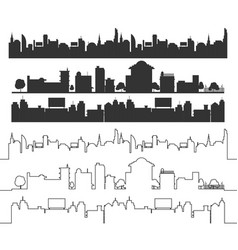 Cities silhouette landscape black set vector