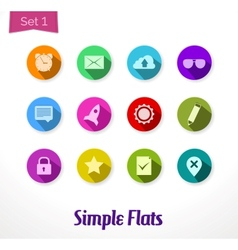 Colorful flat icons set vector image