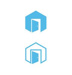 concept design door in the hexagon vector image