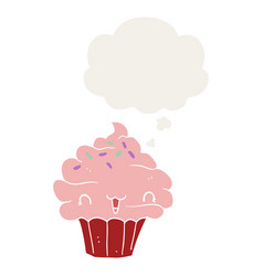 Cute cartoon frosted cupcake and thought bubble vector