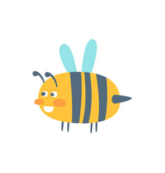 Cute cartoon wasp colorful character vector