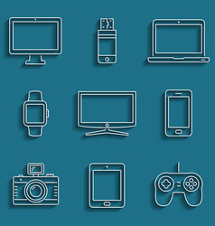 digital devices outline icons vector image