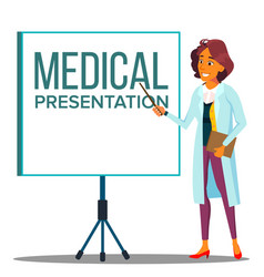 doctor woman in white coat near meeting projector vector image