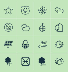 Eco icons set collection of world ecology save vector