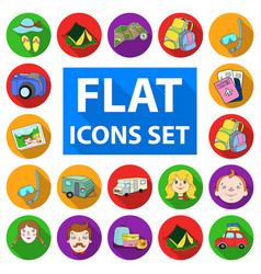 Family holiday flat icons in set collection for vector