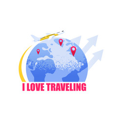 flat banner i love traveling vector image