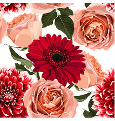 Floral seamless pattern with red gerbera roses vector