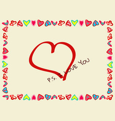 frame of hearts with declaration of love vector image