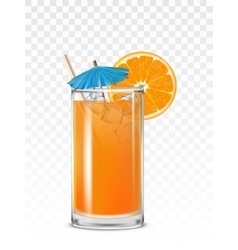Glass beaker with orange juice ice cubes and a vector
