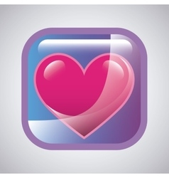 Glossy square with heart icon vector
