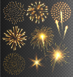 Golden Firework Salute Burst on Transparent vector