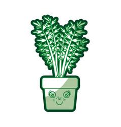 Green silhouette of caricature of carrot plant in vector
