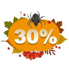 Halloween discount coupon of 30 percent Halloween vector