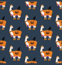 halloween llama in pumpkin costume seamless vector image