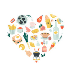 hand drawn abstract design with french food vector image
