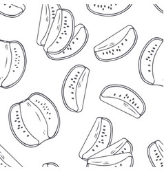 Hand drawn outline seamless pattern with kiwi vector
