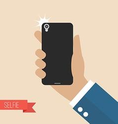 Hands taking selfie with smartphones vector