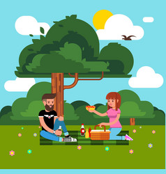 happy couple young people on a picnic picture vector image
