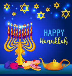 Happy hanukkah holiday concept background cartoon vector