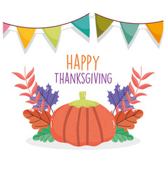 happy thanksgiving celebration pumpkin pennants vector image