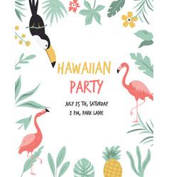 hawaiian card with toucan flamingos flowers vector image