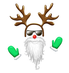 Hipster santa face mask in sunglasses with antlers vector