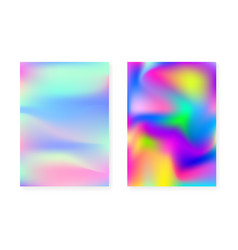 Hologram gradient background set with holographic vector