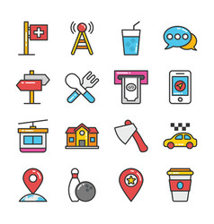 hotel and travel flat icons collection vector image