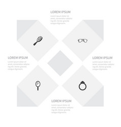 icon accessories set of wedding looking-glass vector image