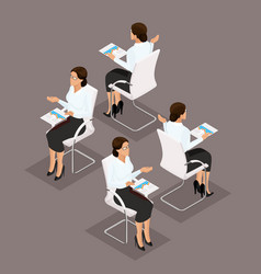 isometric business woman front view rear view vector image