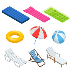 isometric icons set of beach elements and objects vector image