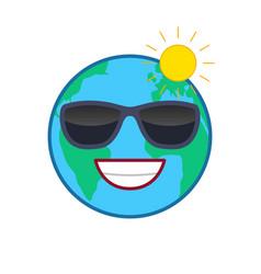 laughing world globe isolated emoticon vector image