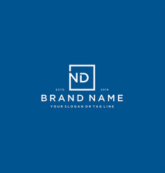 Letter nd with a square design vector
