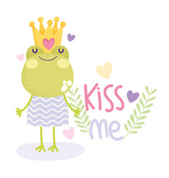Little frog with crown and dress cartoon cute text vector