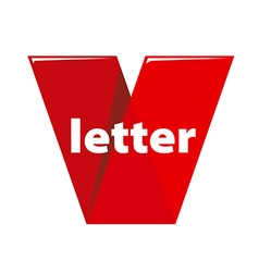 Logo the letter V in the form of red tape vector