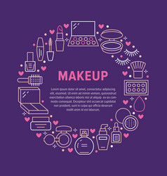 Makeup beauty care circle poster with flat line vector