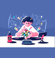 Man collect rubik cube timer championship concept vector