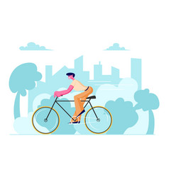 man cyclist riding bike outdoors in summer day on vector image