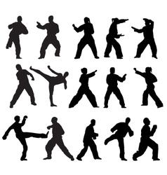 Martial art poses vector