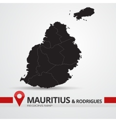 Mauritius and Rodrigues map vector image