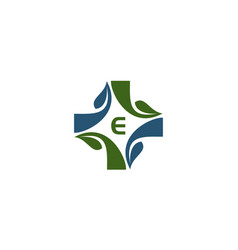 medical herbal initial e vector image