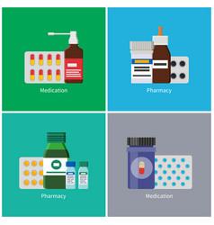 Medication pharmacy poster set vector