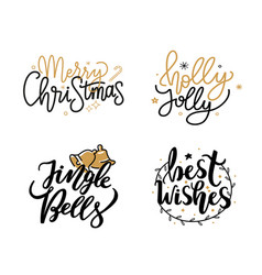 Merry christmas jingle bells and best wishes holly vector