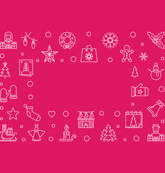merry christmas red outline horizontal vector image