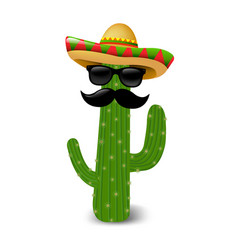 Mexican cactus sunglasses vector