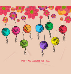 mid autumn festival blooming flower and lantern vector image