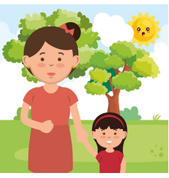 mother with daughter on park characters vector image