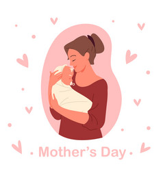 mothers day concept young happy mom holding child vector image